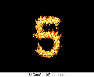 Abstract flame five numbers