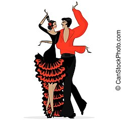abstract flamenco couple in black red