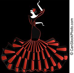 abstract flamenco dancer in the dark