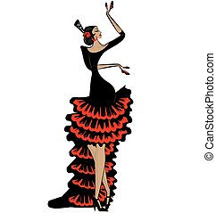 abstract flamenco woman in black red