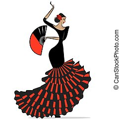 abstract flamenro girl in black and red