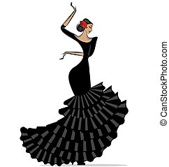 abstract flamenro girl in black