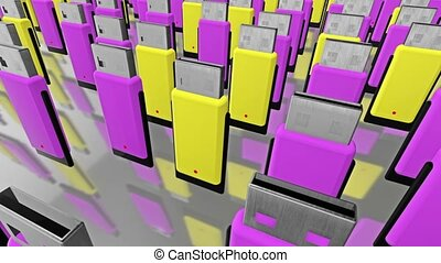 Abstract flash drives in rows