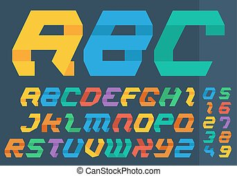 Abstract flat colorful alphabet set