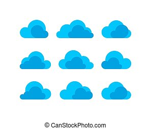 Abstract flat design cloud icon set