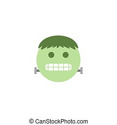 Abstract flat design halloween zombie emoji icon