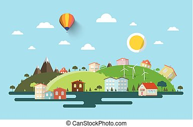 Abstract Flat Design Natural Scene. Vector Town or Village. Urban Illustration with Mountains and Hills.