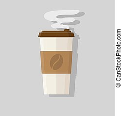 Abstract flat design vector coffee cup