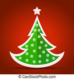 Abstract flat green Christmas tree on red background