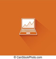 Abstract flat long shadow laptop with graph