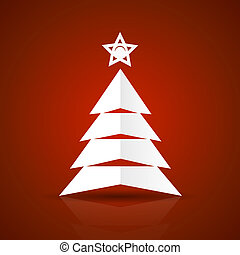 Abstract flat paper Christmas tree on red background