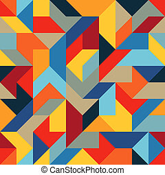 Abstract Flat Seamless Pattern of Simple Geometric Shapes with Harmonious Combination Of Colors.
