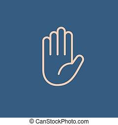 Abstract flat style line icon hello hand emoji emoticon