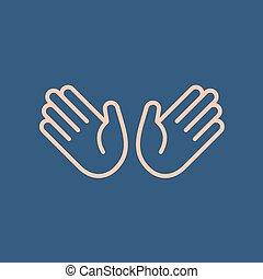 Abstract flat style line icon shake hand emoji emoticon