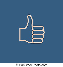 Abstract flat style line icon thumbs up hand emoji emoticon