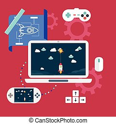 Abstract flat vector illustration of game development concepts. Design elements for mobile and web applications.
