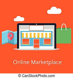 Abstract flat vector illustration of online marketplace ...