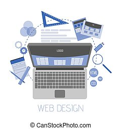Abstract flat vector illustration of web design and development concepts. Elements for mobile and web applications
