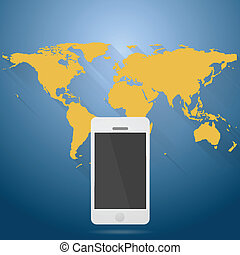 Abstract flat world map with mobile phone