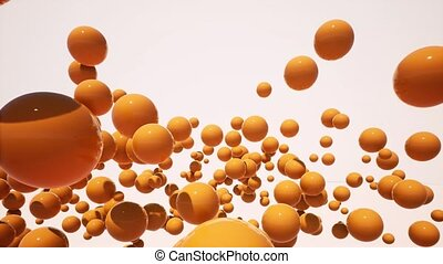 Abstract floating 3d balls in air footage. Moving through...