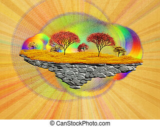 Illustration of abstract floating autumn island on paper background.