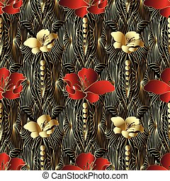 Abstract floral 3d vector seamless pattern.
