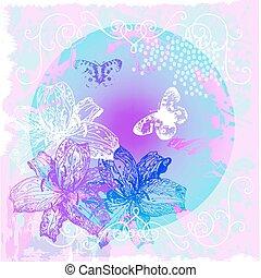 abstract, floral, achtergrond, met, bloemen, en, vlinder