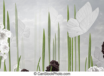 abstract, floral, achtergrond, met, vlinder