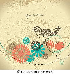 abstract, floral, achtergrond, met, vogel
