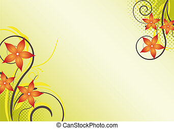 abstract, floral, achtergrond, ontwerp