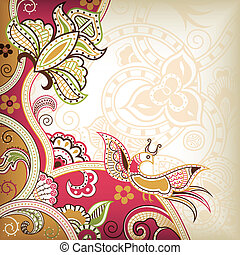 Abstract Floral and Bird - Illustration of abstract floral...