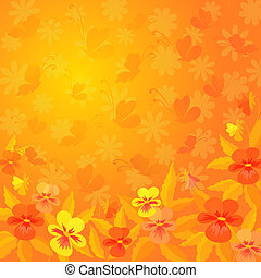 Abstract floral background - Abstract red, orange, and ...