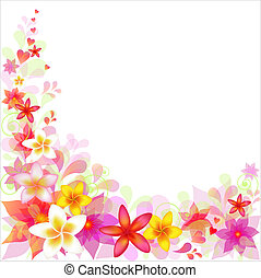 Abstract Floral Background With Frangipani, Isolated On...