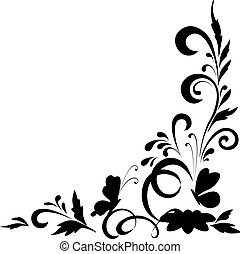 Abstract floral background with flowers and butterflies, black silhouettes on white background. Vector illustration