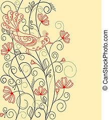 Abstract floral background with bird