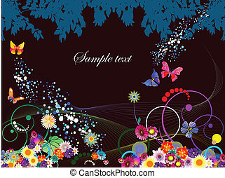 Abstract floral background with bu
