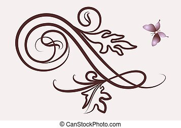 Abstract floral background with butterfly.