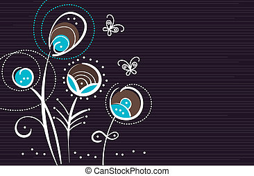 Abstract floral background with cartoon butterflies