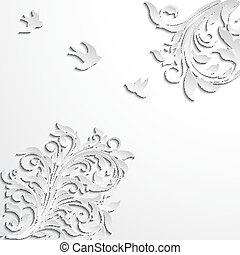 Abstract floral  background with paper flowers and birds.