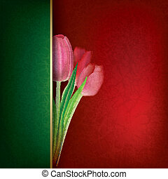 abstract floral background with red tulips