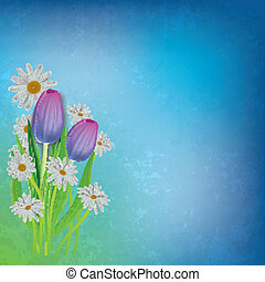 abstract floral background with tulips and chamomiles