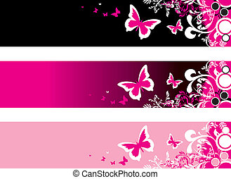 floral banners - abstract floral banners