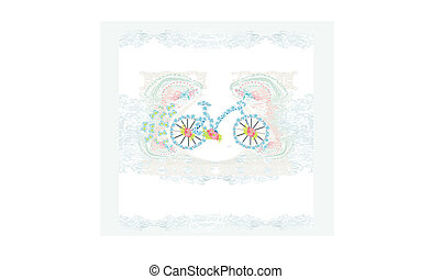 abstract floral bicycle illustration