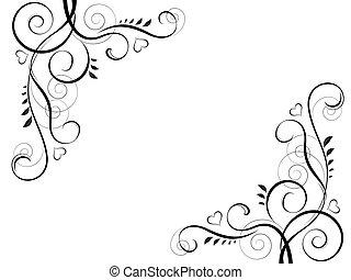 abstract floral black decorative element frame