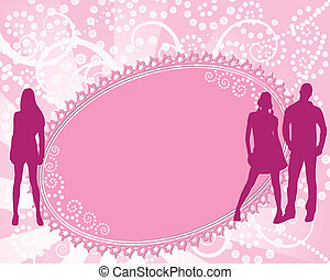 abstract floral border with silhouettes