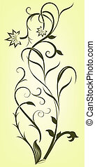 Abstract floral branch vector design element.