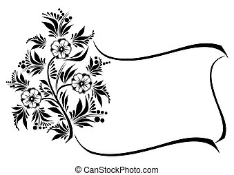 Abstract floral branch with frame