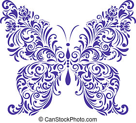 abstract floral butterfly - Vector illustration of abstract...