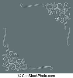 Abstract floral card with corner ornament vector template.