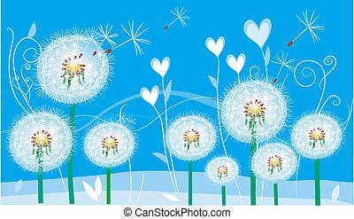 Abstract floral card with dandelions